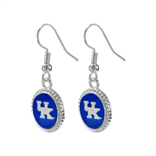 "Dangle earrings features UK logo  letters in white on a raised ""big blue"" charm with wavy silver edges."