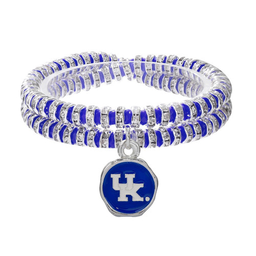 Double elastic bracelet with blue beads and crystal. UK logo charm with white letters on blue with silver edges.