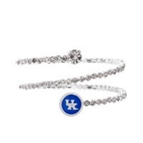 "Crystal flexible bracelet with ""big blue"" UK logo and silver edges."