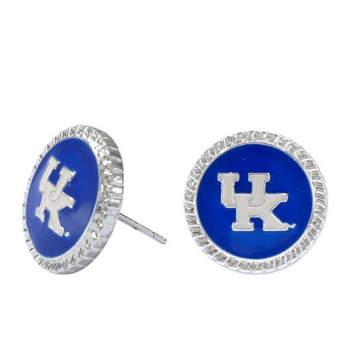 Stud earrings with UK Logo on a blue charm with wavy silver edge