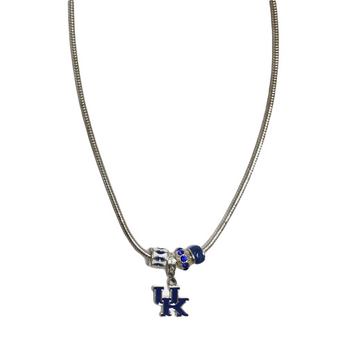 """18"""" adjustable length UK logo necklace with team color charms"""