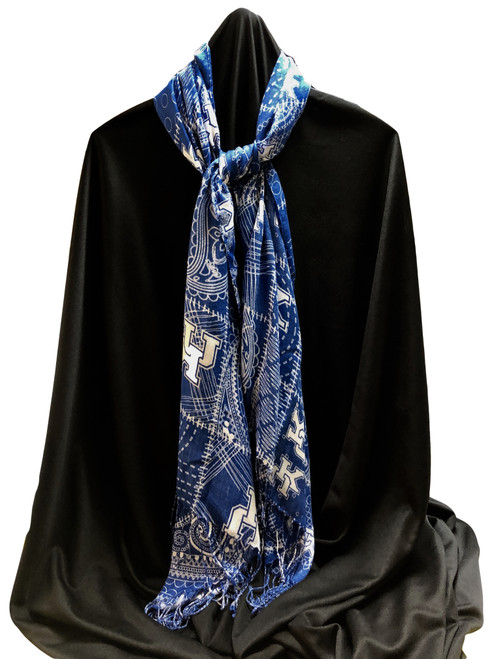 Royal and white with all over print.  Scarf with fringe can be draped or tied