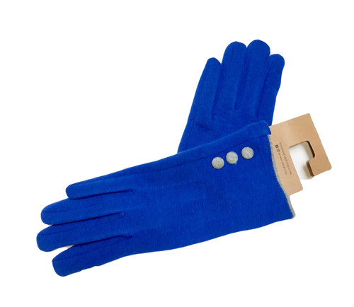 Ladies royal gloves with gray buttons 80% cotton/20% polyester one size.