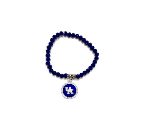 Blue diamond beaded bracelet with UK logo on raised charm.