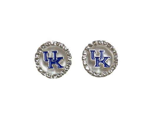 Crystals around outer edge with UK colored logo soldered in the center of stud earrings