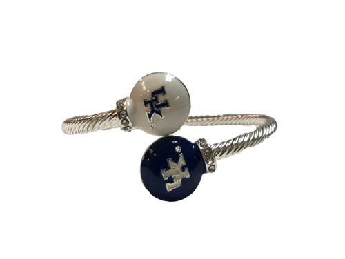 Sturdy bendable silver bracelet with UK logo raised charms soldered at the ends