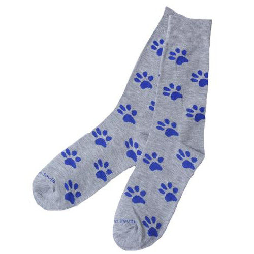 Grey sock/ blue paws fits shoe size 6-12