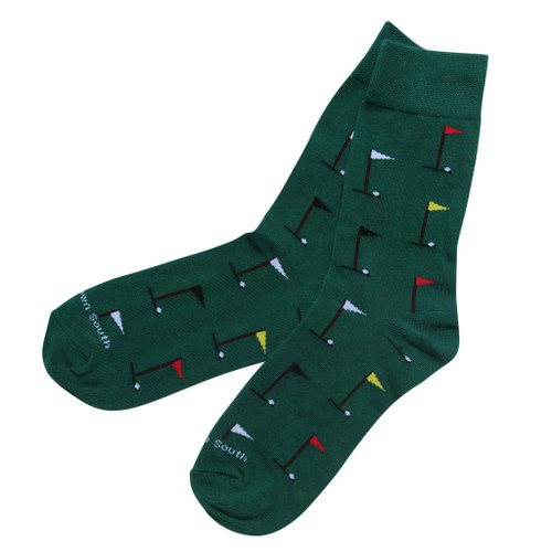 Golf flags and balls on green socks, fits shoe size: 6-12