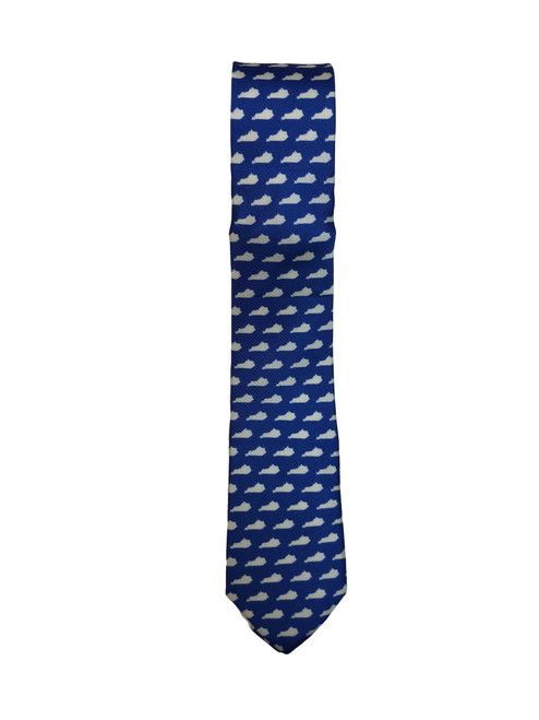 """Tie is 2"""" W x 56"""" Long royal with white Ky state outline"""