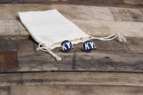Navy cuff white KY letters with silver edge
