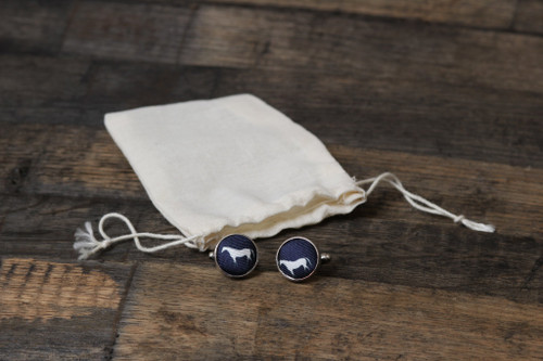 Navy cuff, white horse with silver links