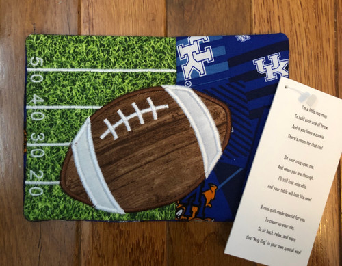 "7""W x 5""H Football mug rug for your favorite beverage"
