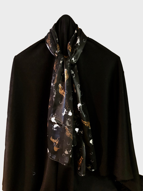 100% polyester black scarf with horses and horseshoes