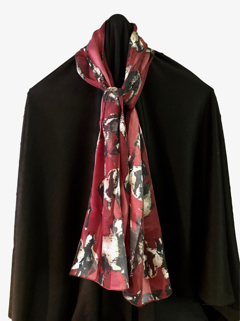 100% polyester with silk feel, burgundy with white and black horses