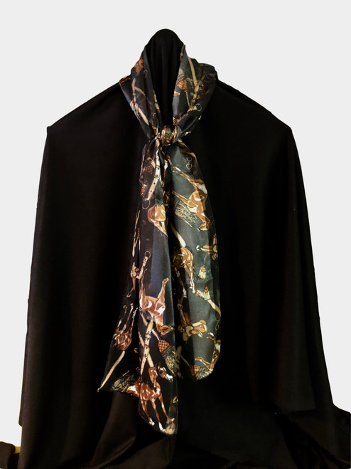 100% polyester with silk feel, brown/white horses and gold equestrian gear
