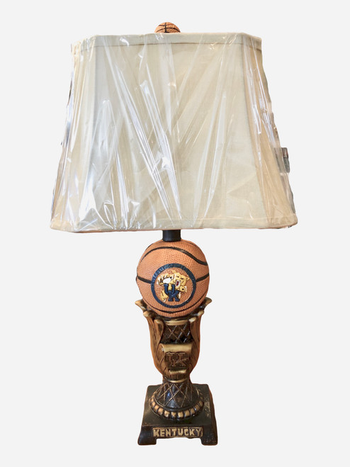 """24"""" lamp with painted logos, shade, and basketball finial"""
