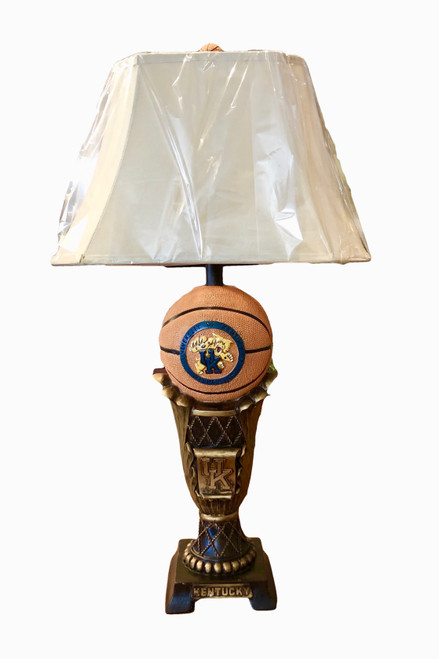 """33"""" basketball trophy lamp with raised and painted logo, topped off with basketball finial"""