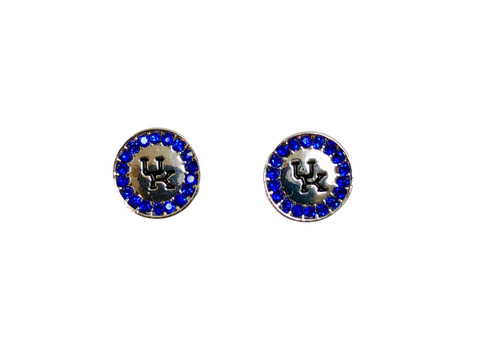 Post earrings silver with blue rhinestones and UK etched in blue...lead and nickel safe