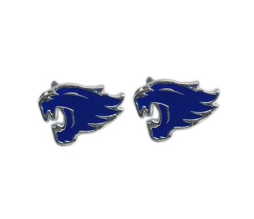 Lead and nickel safe post earrings in silver and royal blue wildcat head