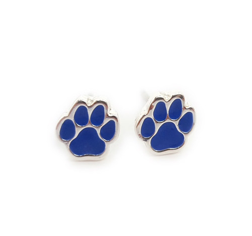 Royal blue rhinestones in silver paw design...lead and nickel safe