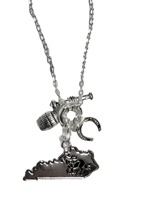 "18"" Toggle necklace silver with horseshoe, bourbon barrel, and state of Kentucky with racing horse."
