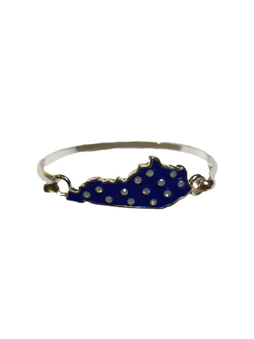Silver bracelet with silver state outline, blue inset with clear rhinestones