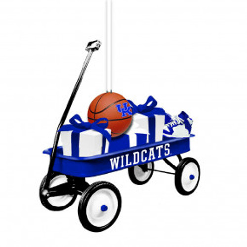 "Wildcats team wagon ornament with basketball, presents, 3""W x 2.50""H"