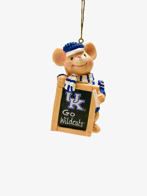 "2""W x 3.75""W UK holiday mouse ornament holding chalkboard UK Go Wildcats"
