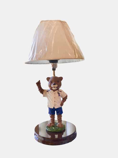 """Wildcat mascot lamp is 17"""" tall with shade and On/Off cord switch on cord."""