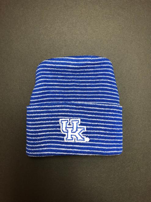Striped royal/white baby cap 100% cotton