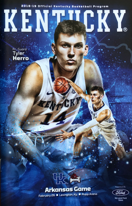 "2018-19 Kentucky Basketball Program with Tyler Herro on cover with 28 pages of wildcat reading...5.5""W x 8.5""H"