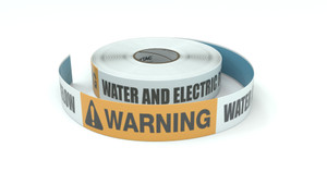 Warning: Water And Electric Buried Below - Inline Printed Floor Marking Tape