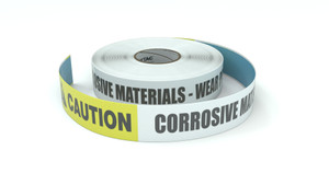 Caution: Corrosive Materials Wear PPE - Inline Printed Floor Marking Tape