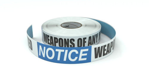 Notice: Weapons Of Any Kind Are Prohibited - Inline Printed Floor Marking Tape