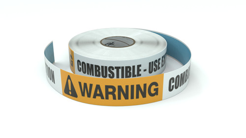 Warning: Combustible Use Extreme Caution - Inline Printed Floor Marking Tape