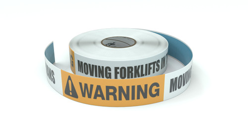 Warning: Moving Forklifts In This Area No Pedestrians - Inline Printed Floor Marking Tape