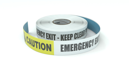 Caution: Emergency Exit Keep Clear Past This Line - Inline Printed Floor Marking Tape
