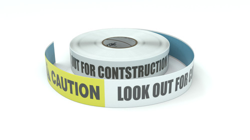 Caution: Look Out For Contstruction Traffic - Inline Printed Floor Marking Tape