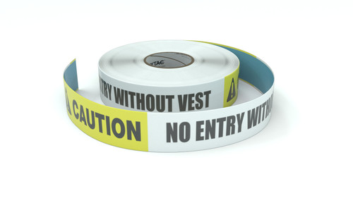 Caution: No Entry Without Vest - Inline Printed Floor Marking Tape