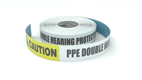 Caution: PPE Double Hearing Protection Required in This Area - Inline Printed Floor Marking Tape
