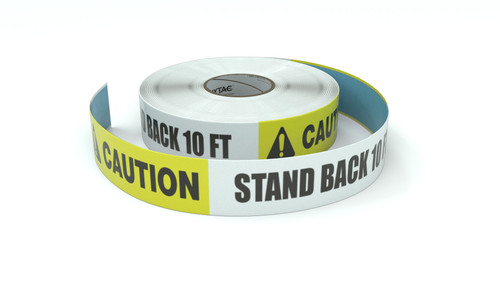 Caution: Stand Back 10 Ft. - Inline Printed Floor Marking Tape