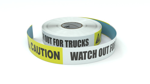 Caution: Watch Out For Trucks - Inline Printed Floor Marking Tape