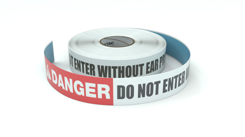 Danger: Do Not Enter Without Ear Protection - Inline Printed Floor Marking Tape