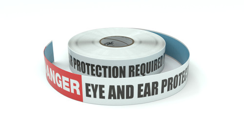Danger: Eye And Ear Protection Required Past This Line - Inline Printed Floor Marking Tape