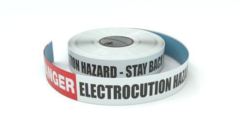 Danger: Electrocution Hazard - Stay Back From This Line - Inline Printed Floor Marking Tape