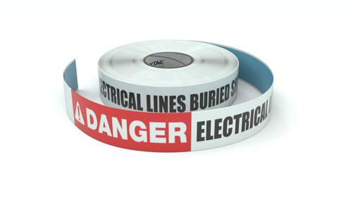 Danger: Electrical Lines Buried Shallow - Inline Printed Floor Marking Tape