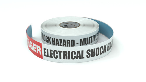Danger: Electrical Shock Hazard - Multiple Power Sources - Inline Printed Floor Marking Tape