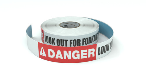 Danger: Look Out For Forklifts - Inline Printed Floor Marking Tape