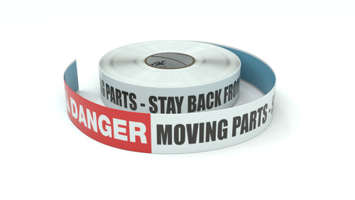 Danger: Moving Parts - Stay Back From This Line - Inline Printed Floor Marking Tape