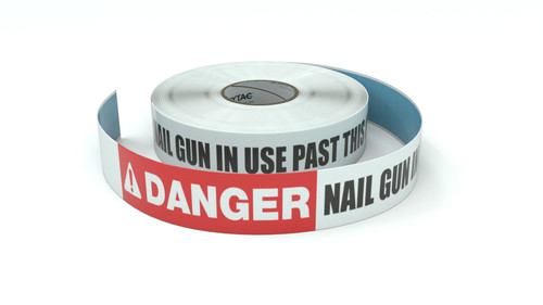 Danger: Nail Gun In Use Past This Line - Inline Printed Floor Marking Tape